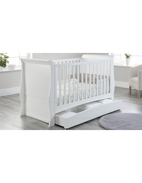 Lillian Cot Bed in White colour with drawer open