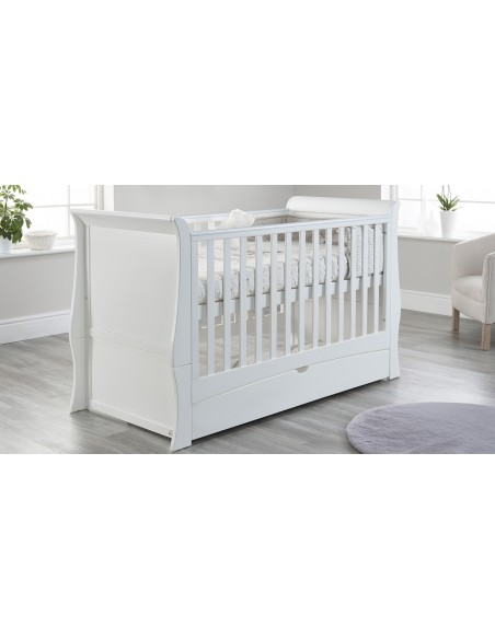 Lillian Cot Bed in White colour Higher mattress position with drawer