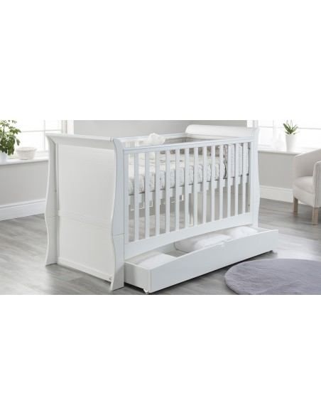 Lillian Cot Bed in White colour Higher mattress position with drawer open