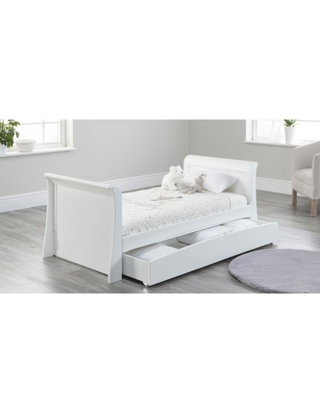 Lillian Toddler Bed in White colour with drawer open