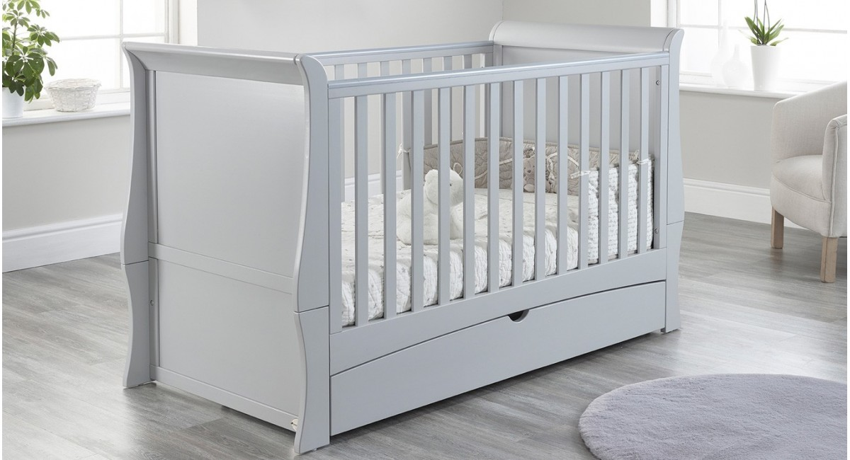 Lillian Sleigh Cot Bed in Grey colour with Drawer closed