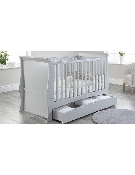 Lillian Sleigh Cot Bed in Grey colour with Drawer open