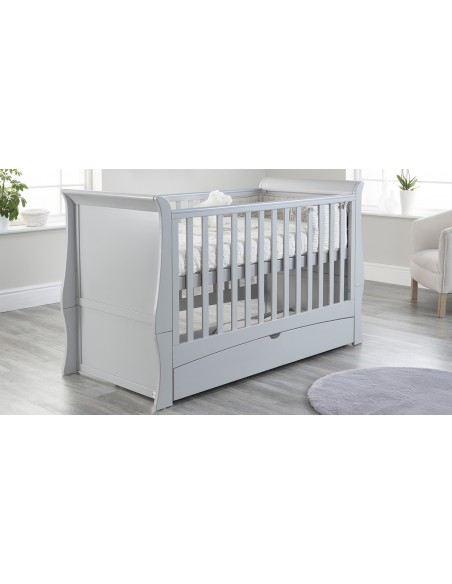 Lillian Sleigh Cot Bed in Grey colour on a Higher mattress position with Drawer closed