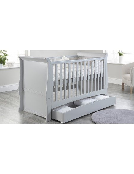 Lillian Sleigh Cot Bed in Grey colour  on a Higher mattress position with Drawer open