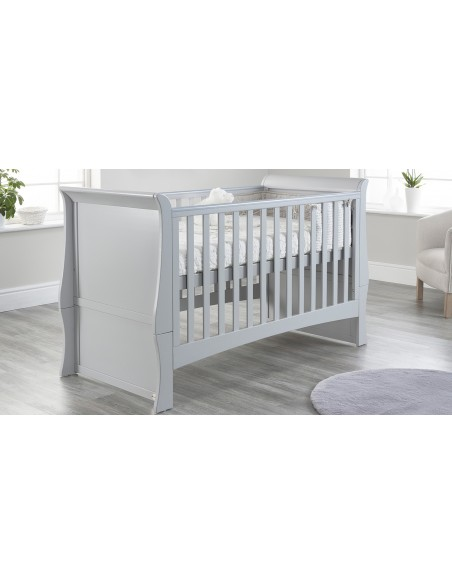 Lillian Sleigh Cot Bed in Grey colour on a Higher mattress position with no Drawer