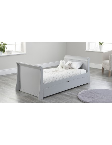 Lillian Sleigh Toddler Bed in Grey colour with Drawer closed