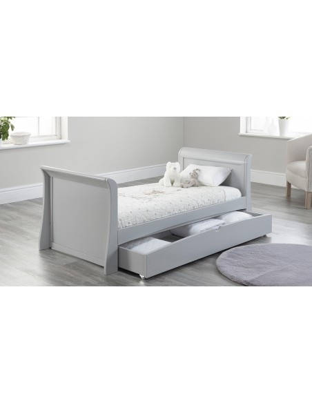 Lillian Sleigh Toddler Bed in Grey colour with Drawer open