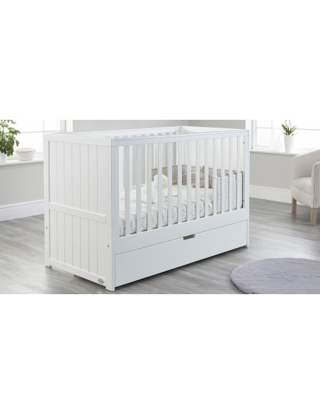 Jo Modern Cot Bed in White colour with Drawer closed