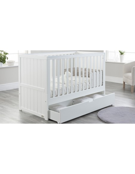 Jo Modern Cot Bed in White colour with Drawer open