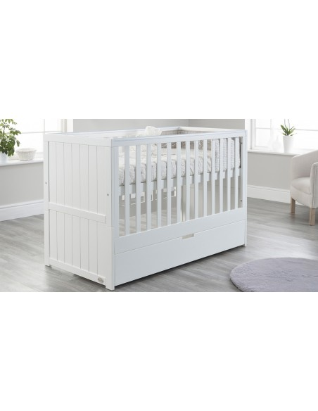 Jo Modern Cot Bed in White colour with Drawer upper Mattress level