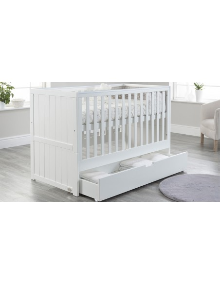 Jo Modern Cot Bed in White colour with Drawer open upper Mattress level