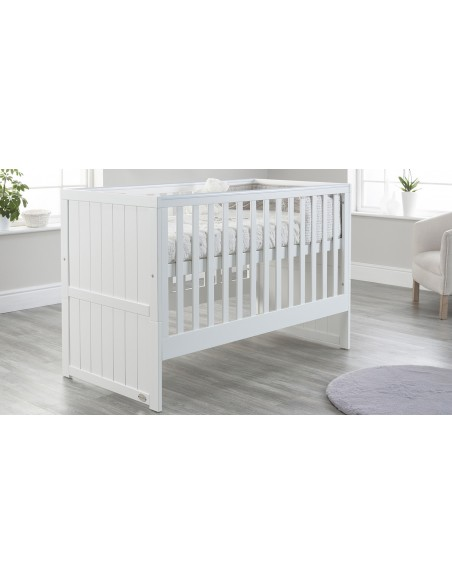 Jo Modern Cot Bed in White colour with no Drawer upper Mattress level
