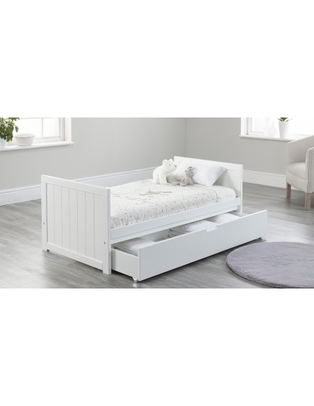 Jo Modern Toddler Bed in White colour with Drawer open