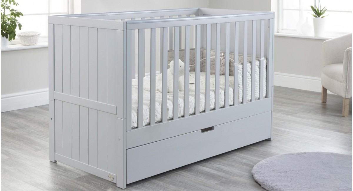 Jo Modern Cot Bed in Grey colour with Drawer