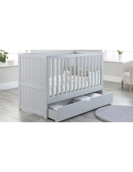 Jo Modern Cot Bed in Grey colour with Drawer open