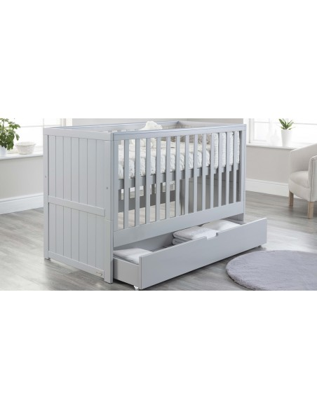 Jo Modern Cot Bed in Grey colour with Drawer open upper Mattress level