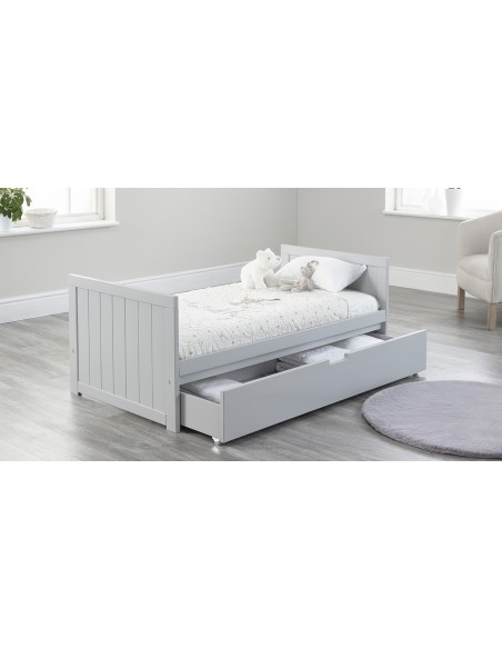 Jo Modern Toddler Bed in Grey colour with Drawer open