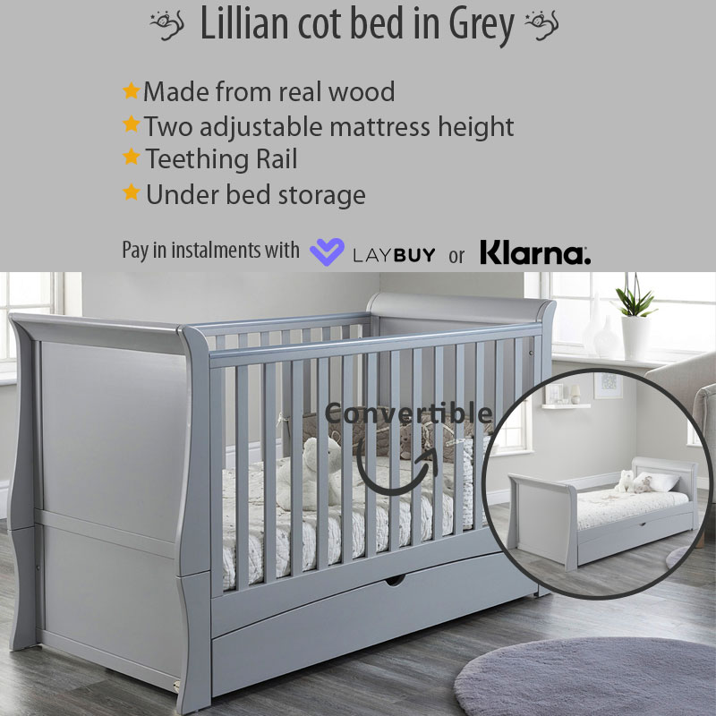 Baby Snooze Lillian cot bed grey